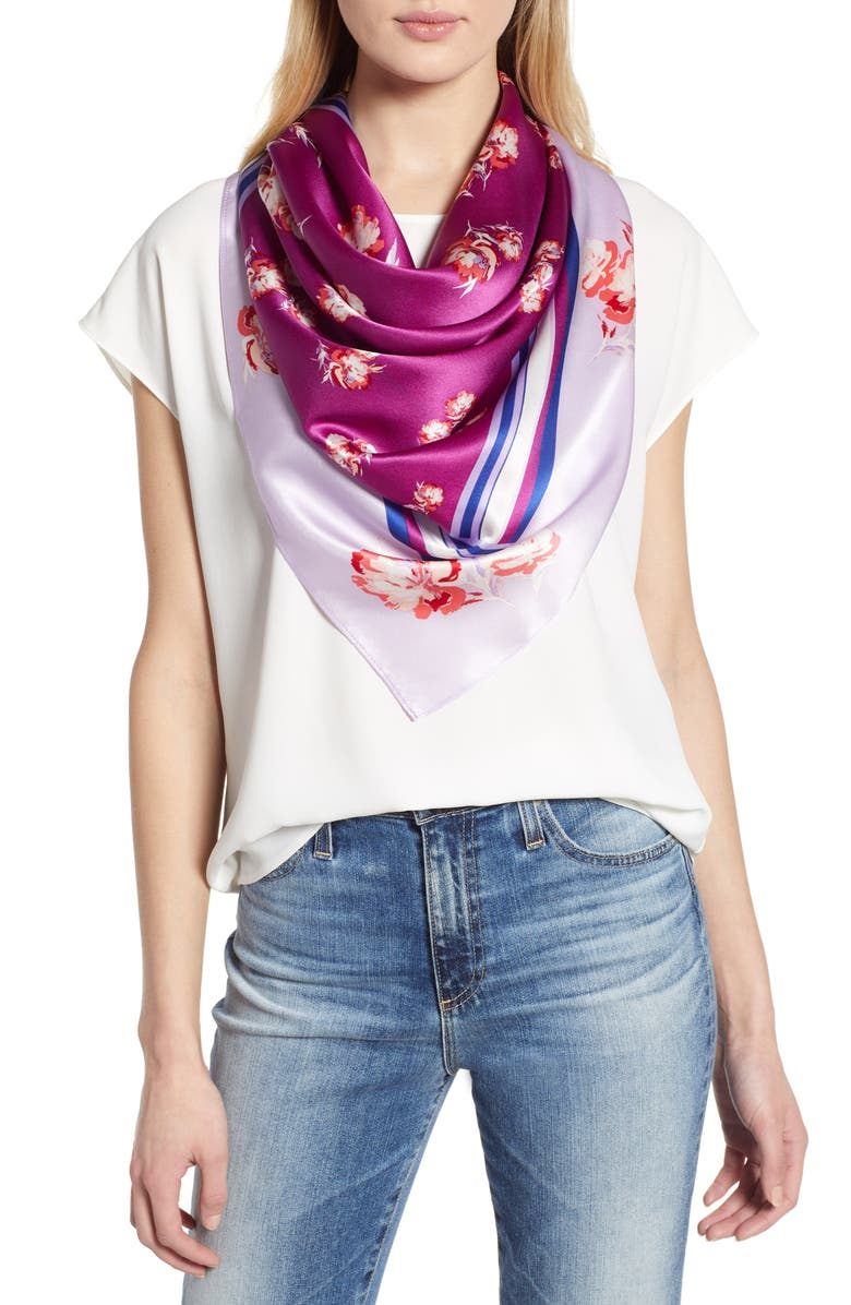 HALOGEN<SUP>®</SUP> Print Silk Scarf, Main, color, PURPLE RORY FLORAL