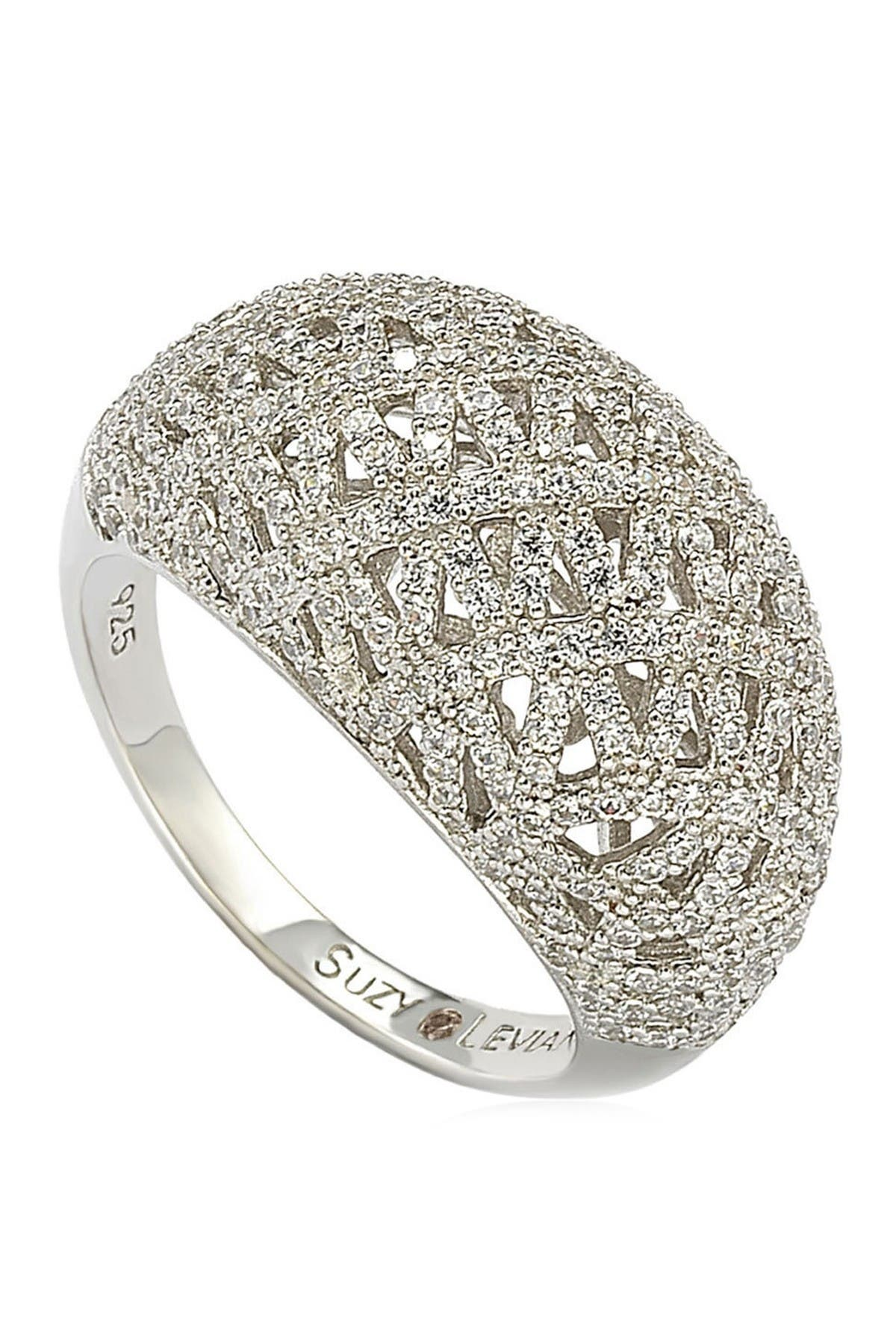 Suzy Levian Sterling Silver Pave Cubic Zirconia Crisscross Ring at Nordstrom Rack