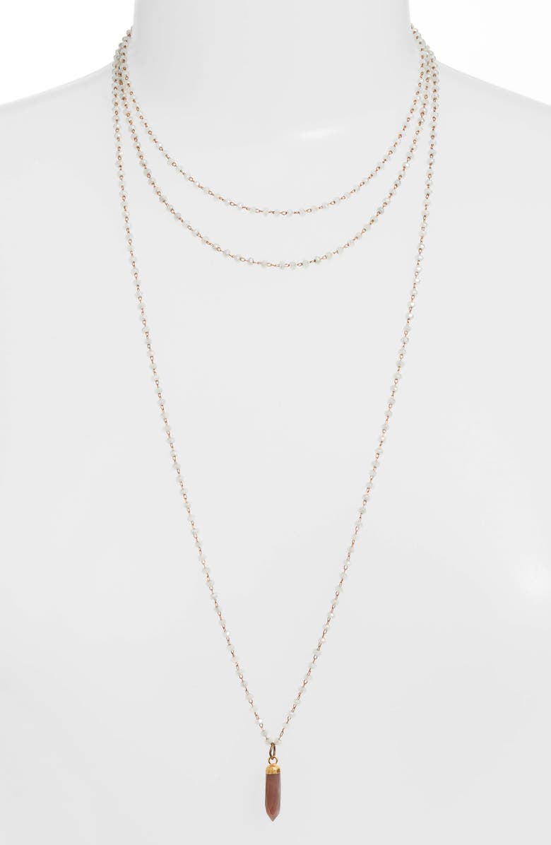 MEND Long Rosary Necklace, Main, color, WHITE/ GOLD/ COFFEE MOONSTONE