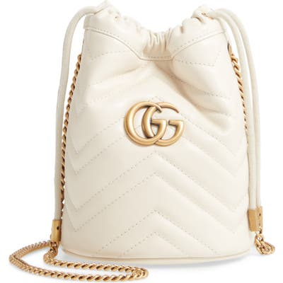Gucci Mini Gg Marmont 2.0 Quilted Leather Bucket Bag - White