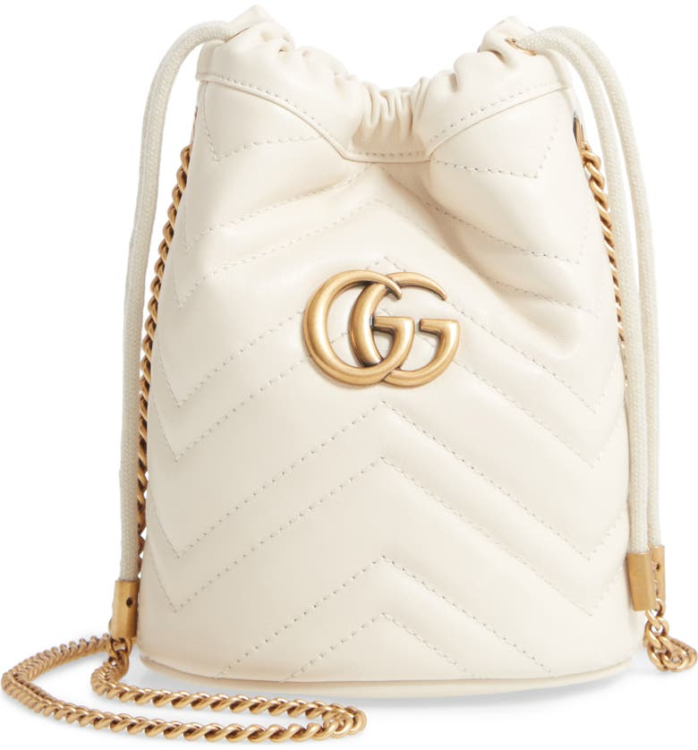 GUCCI Mini GG Marmont 2.0 Quilted Leather Bucket Bag, Main, color, MYSTIC WHITE