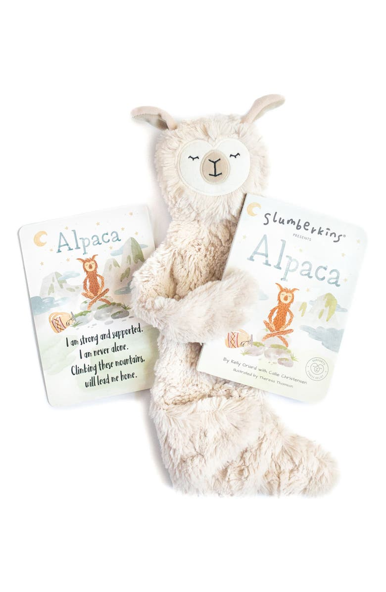 SLUMBERKINS Alpaca Stuffed Animal & 'Alpaca' Board Book, Main, color, HAZEL