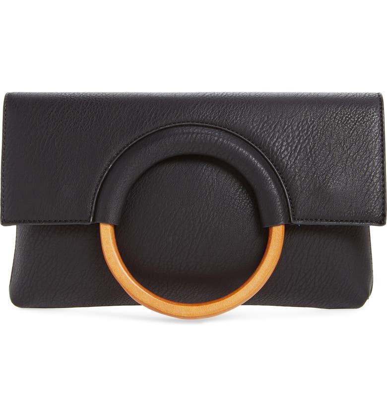 BP. Faux Leather Circle Clutch, Main, color, BLACK