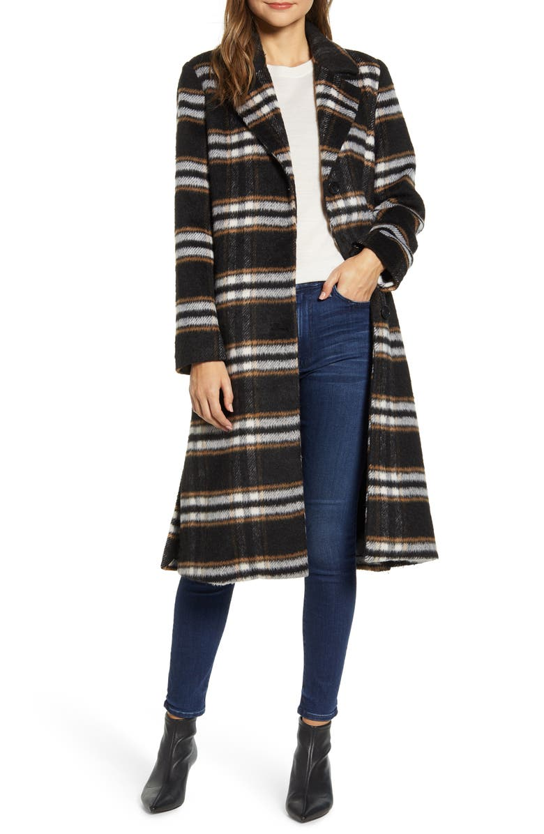 BERNARDO Leopard Print Coat, Main, color, BARN PLAID