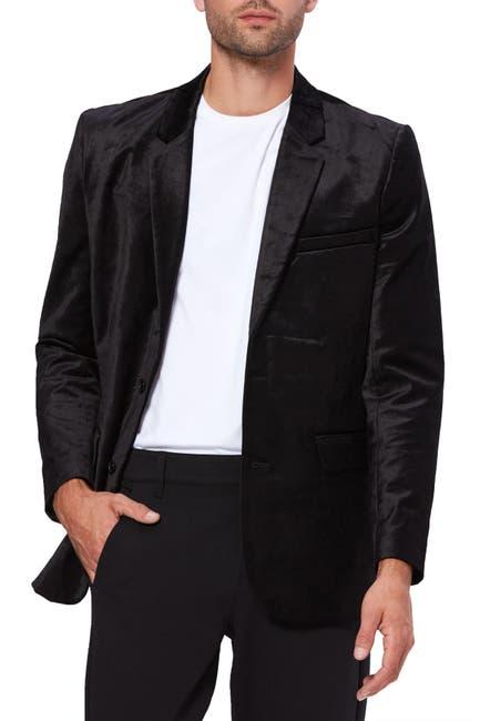 Image of PAIGE Franco Black Solid Two Button Notch Lapel Velvet Blazer