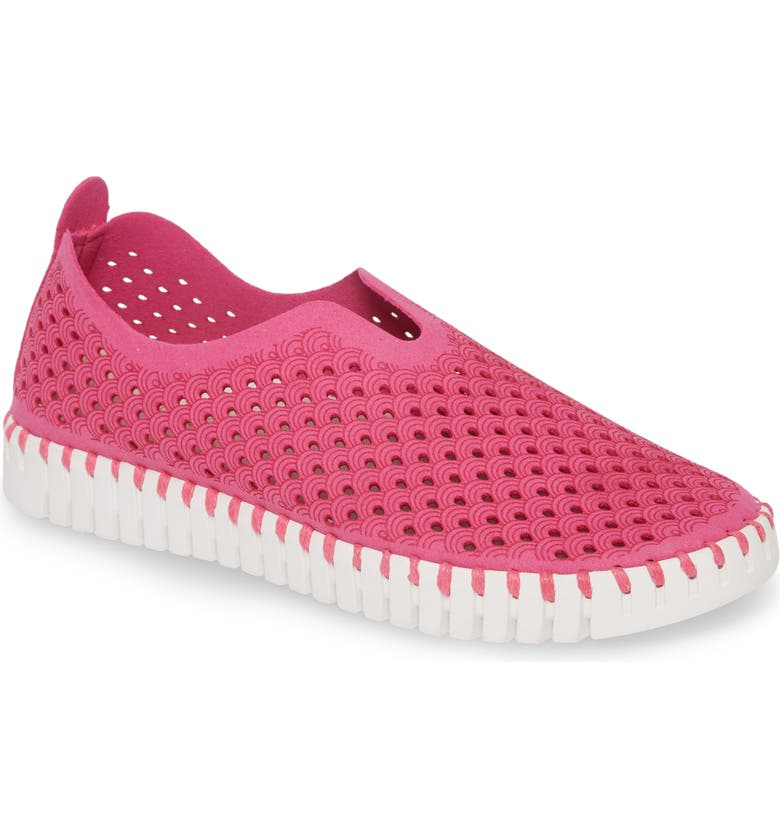 ILSE JACOBSEN Tulip 139 Perforated Slip-On Sneaker, Main, color, ROSE VIOLET FABRIC