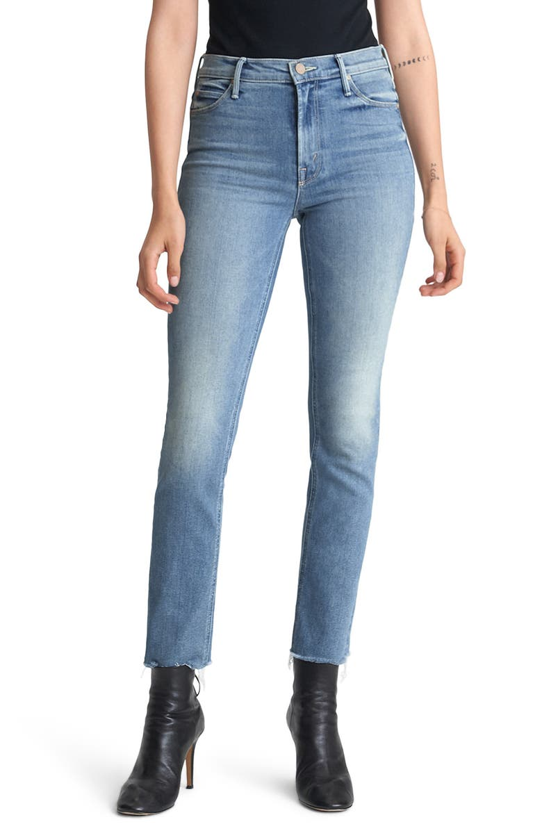 MOTHER The Dazzler High Waist Fray Hem Ankle Straight Leg Jeans, Main, color, JACKPOT