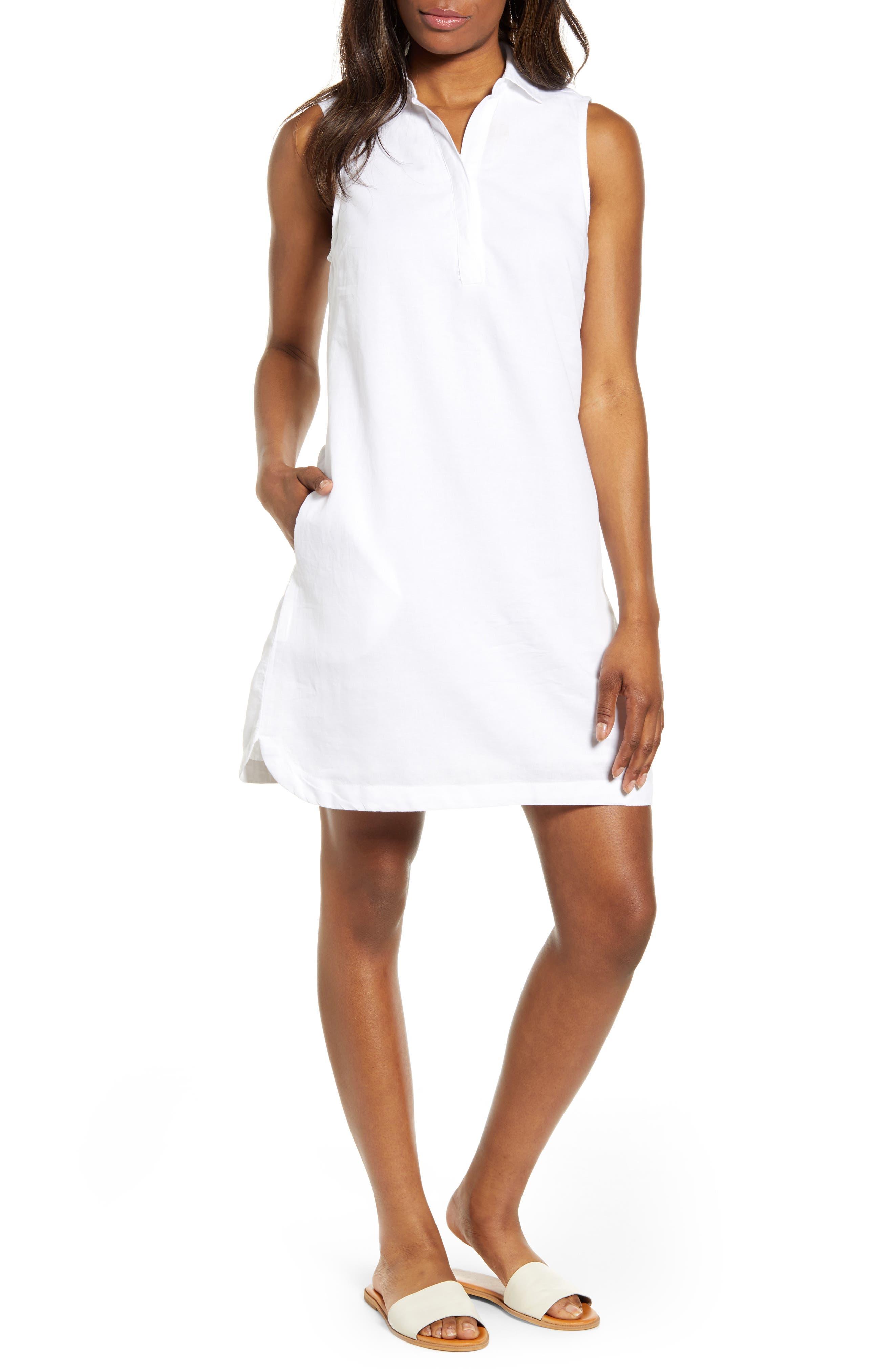 beachlunchlounge Leandrina Polo Collar Linen & Cotton Shift Dress