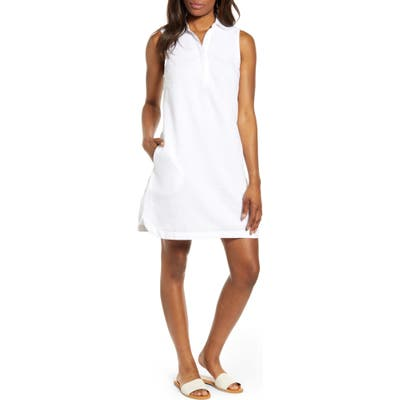 Beachlunchlounge Leandrina Polo Collar Linen & Cotton Shift Dress, White