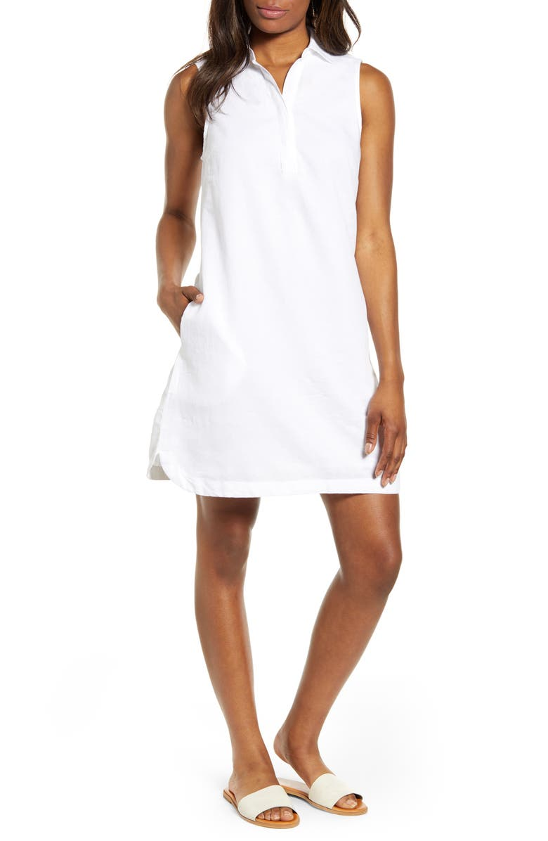 BEACHLUNCHLOUNGE Leandrina Polo Collar Linen & Cotton Shift Dress, Main, color, WHITE