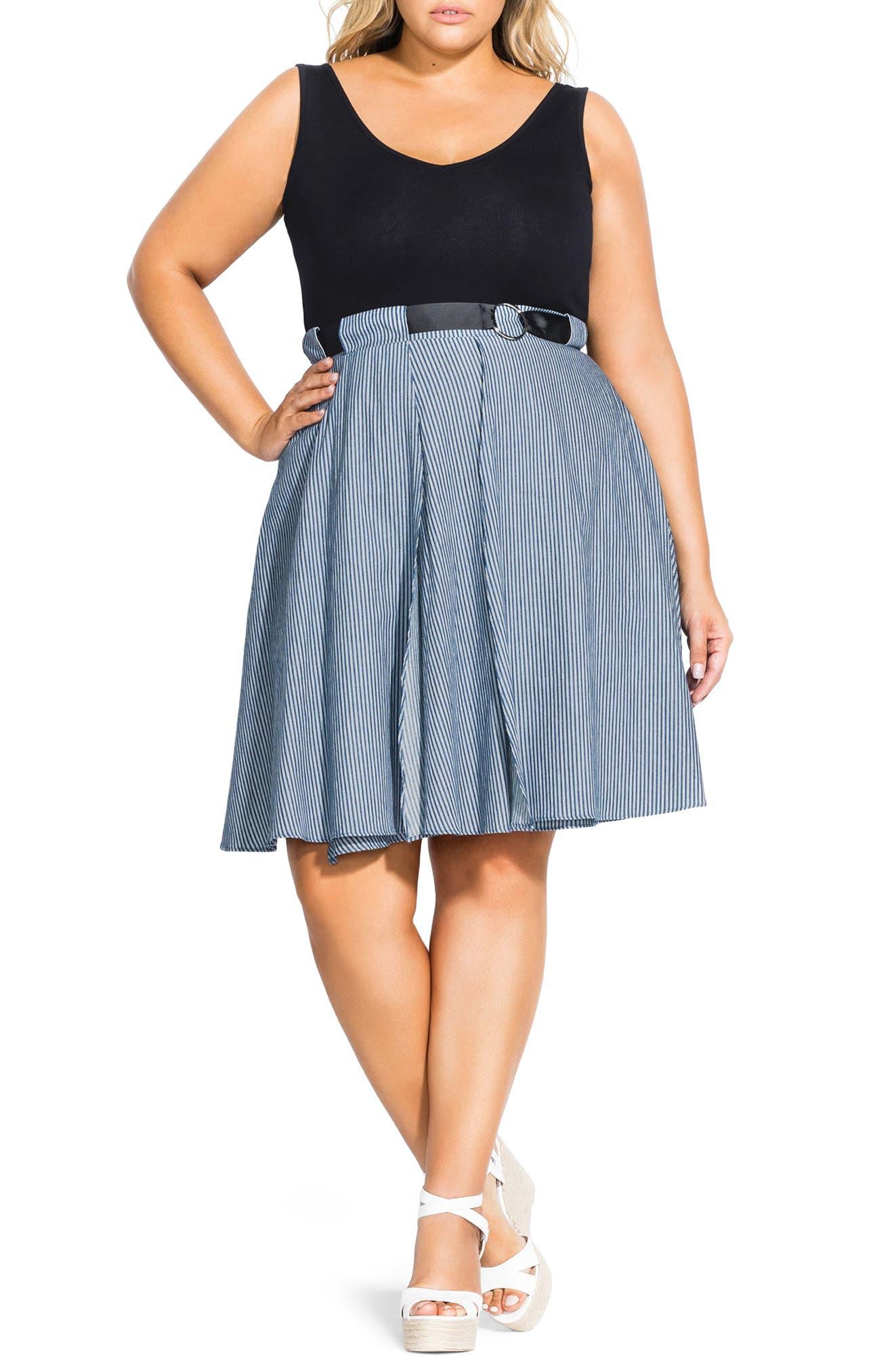 plus size women's city chic mix media belted sleeveless dress