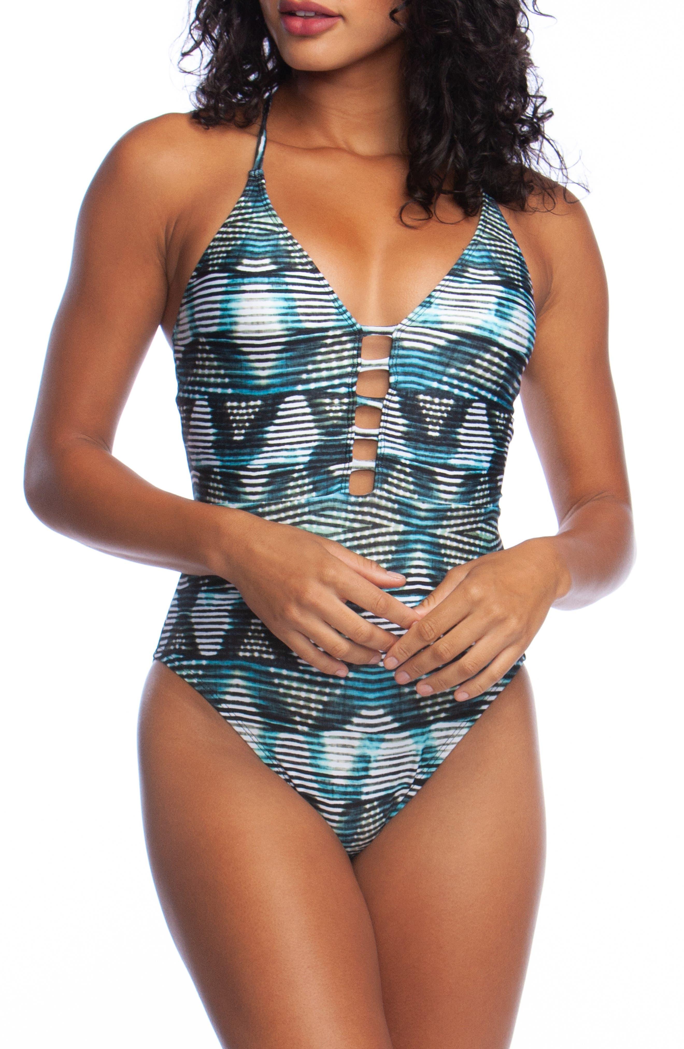 La Blanca Plunge One-Piece Swimsuit, Blue