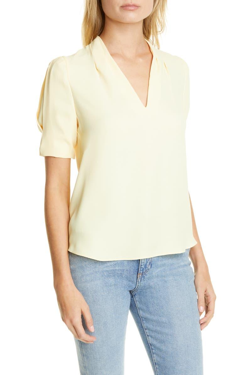 JOIE Ance V-Neck Silk Blouse, Main, color, BANANA