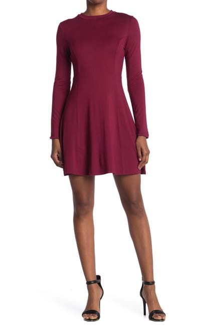 Image of RD Style High Neck Seamed Long Sleeve Dress