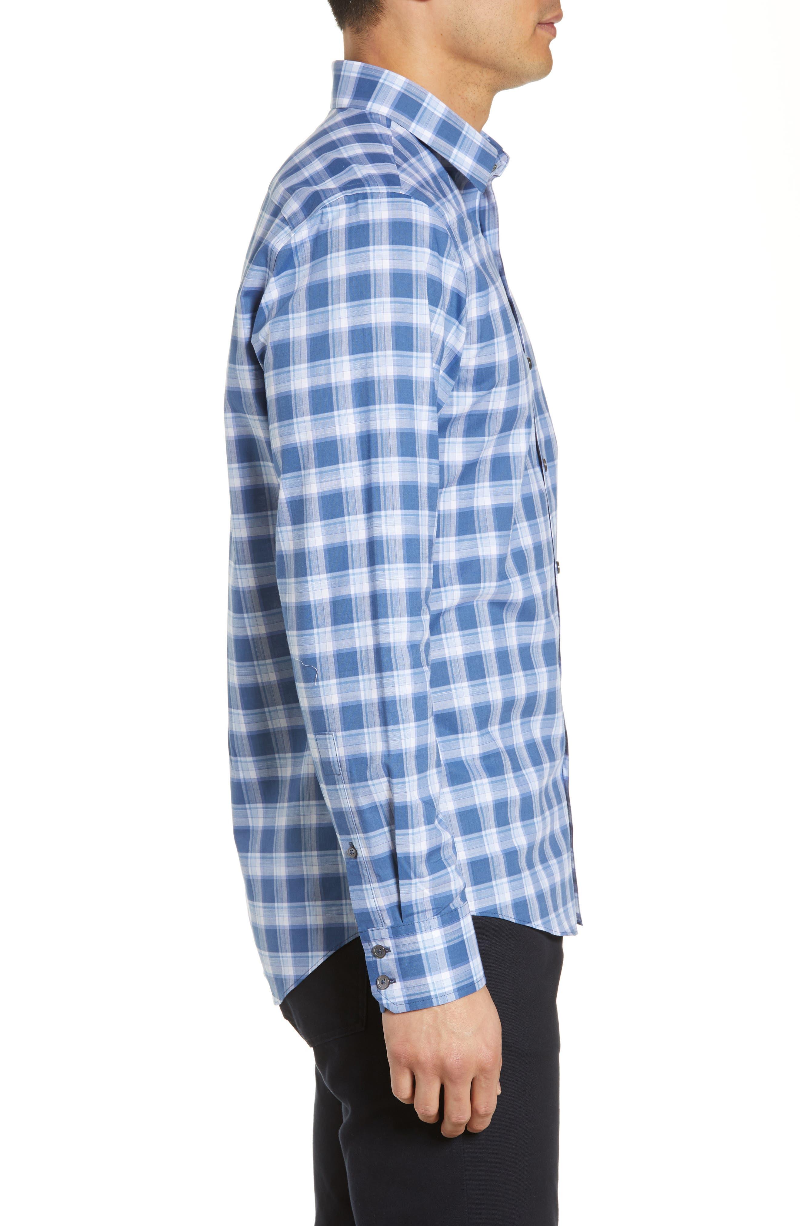 ,                             Albrecht Regular Fit Check Sport Shirt,                             Alternate thumbnail 4, color,                             BLUE