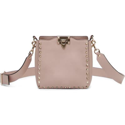 Valentino Garavani Rockstud Mini Hobo Crossbody Bag - Beige