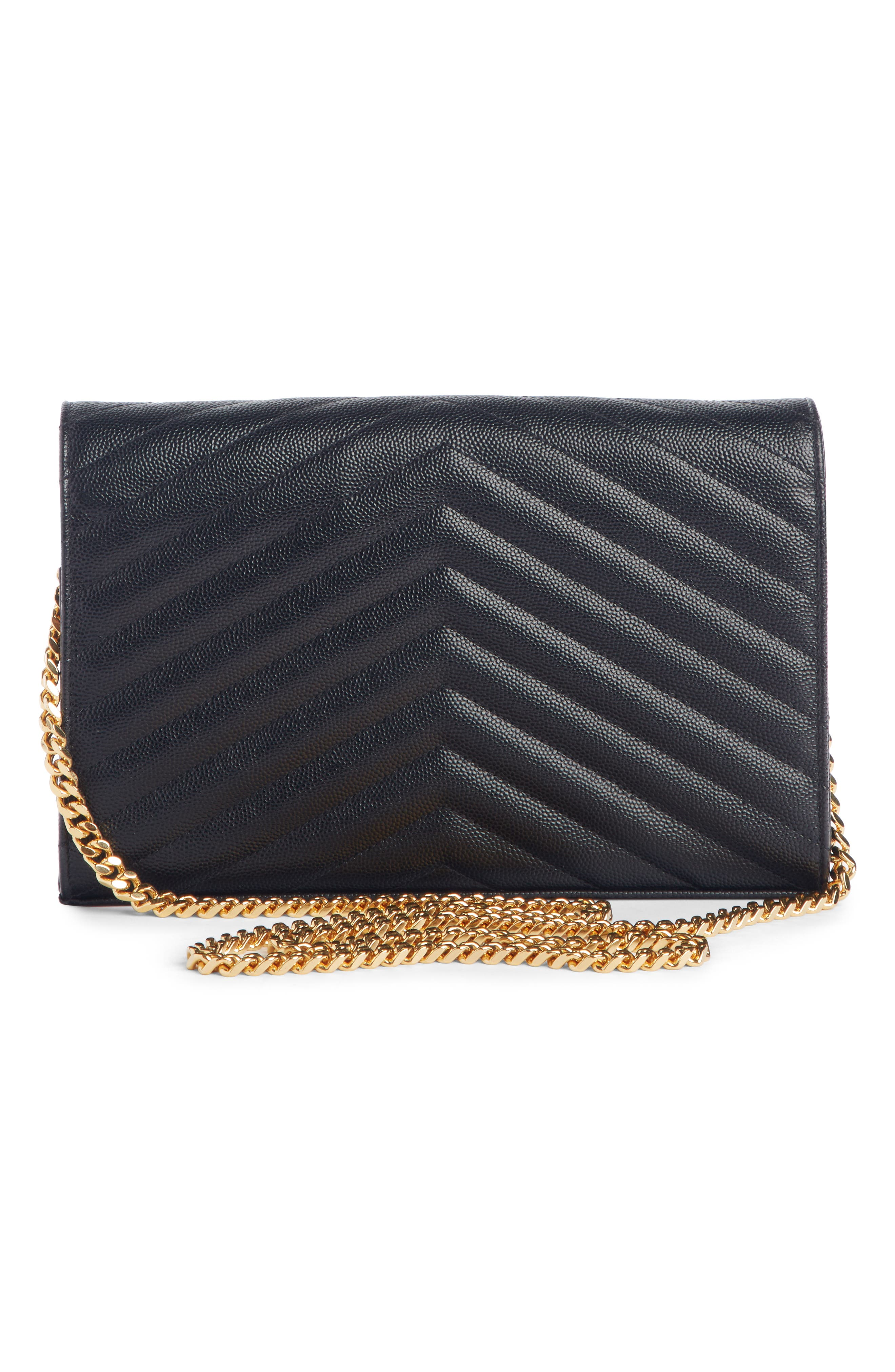,                             Large Monogram Quilted Leather Wallet on a Chain,                             Alternate thumbnail 4, color,                             NOIR