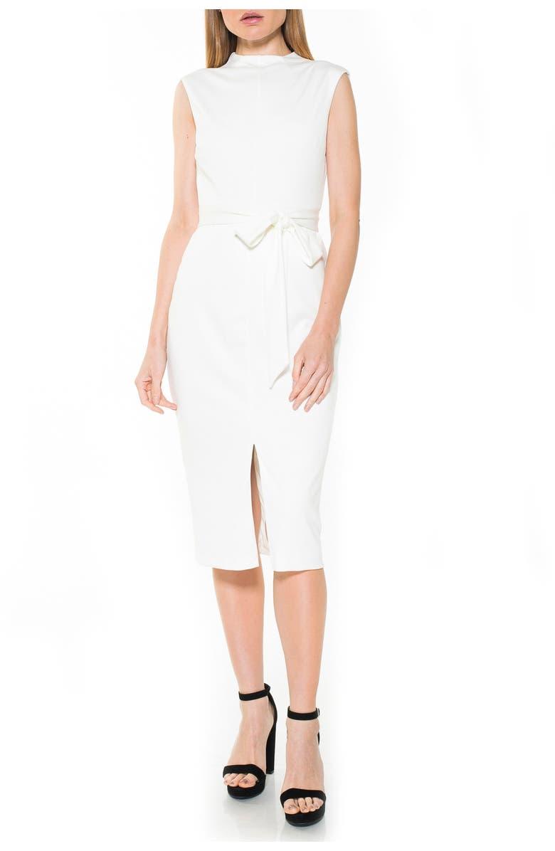 ALEXIA ADMOR Mock Neck Belted Sheath Dress, Main, color, CREAM