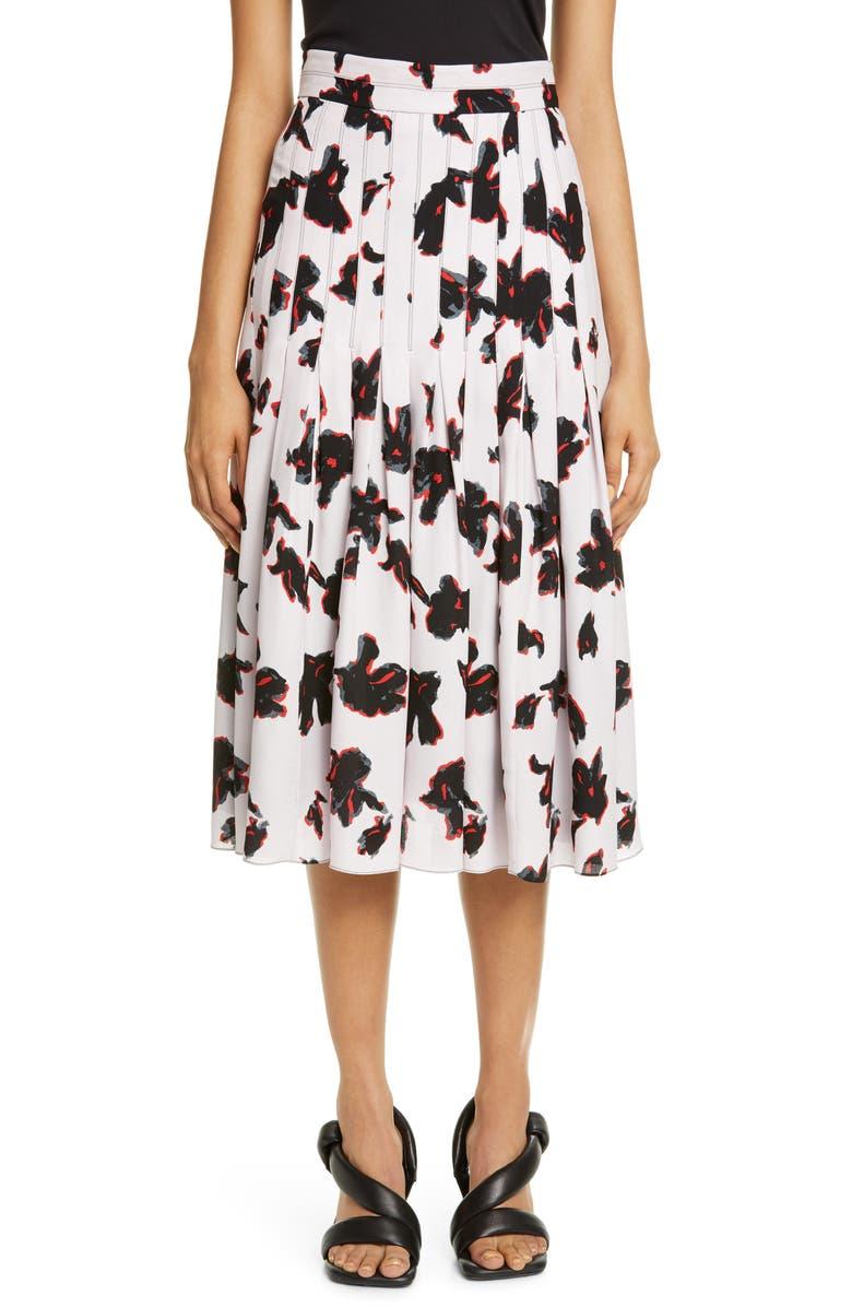 PROENZA SCHOULER Iris Print Pleated Georgette Skirt, Main, color, POWDER PINK/RED PAINTED IRIS