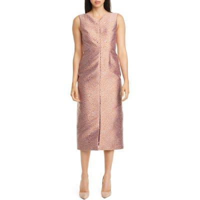 Kate Spade New York Flora Leopard Jacquard Midi Sheath Dress, Purple