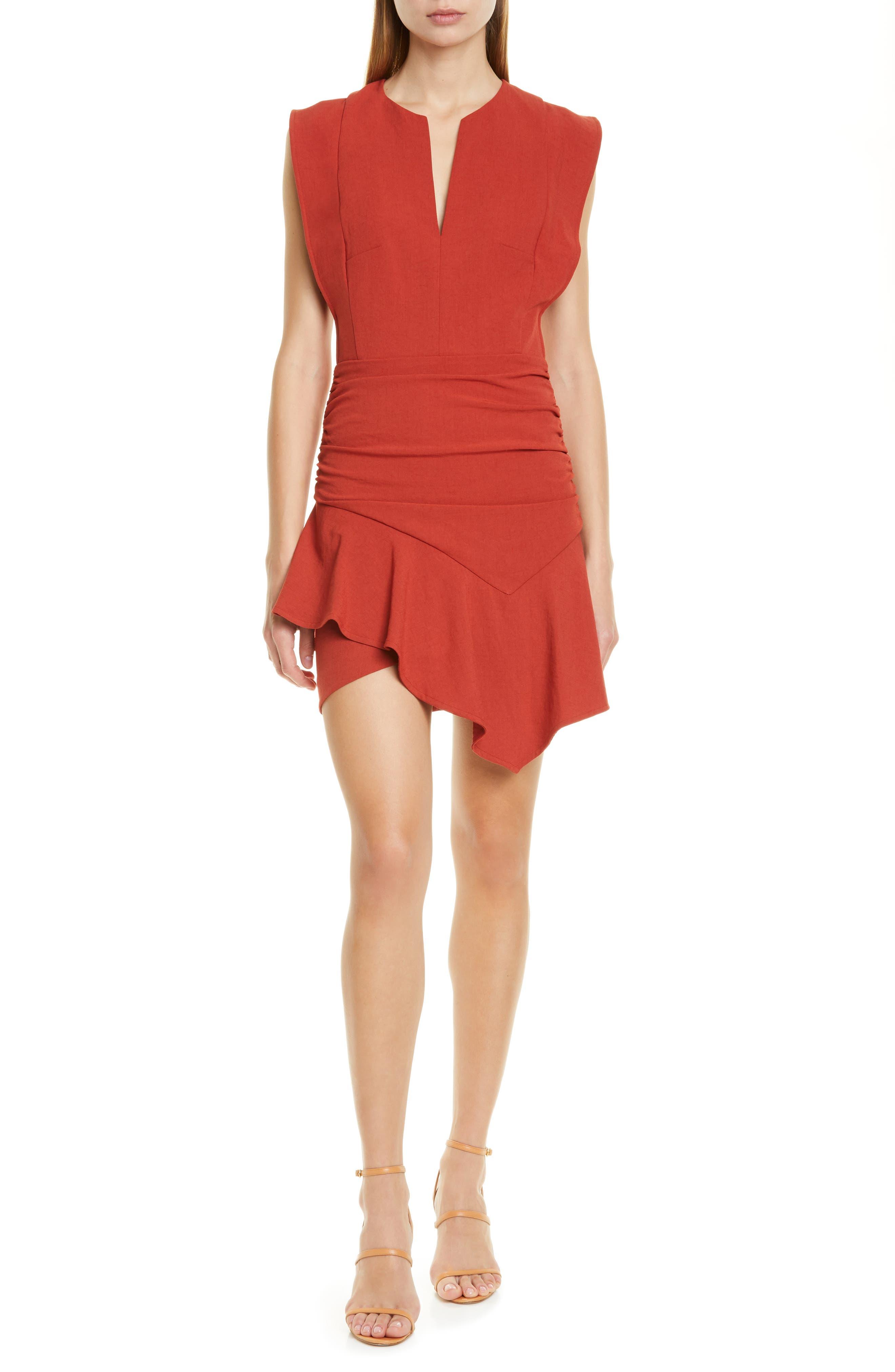 Ba & sh Jess Asymmetrical Minidress, Red