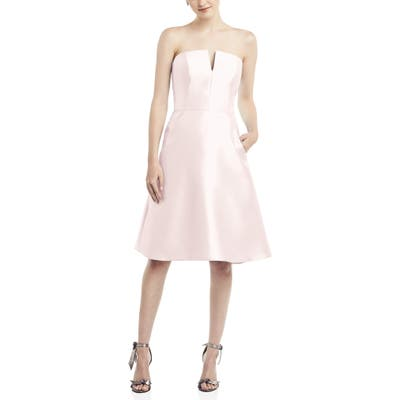 Alfred Sung Strapless Satin Twill Cocktail Dress, Pink