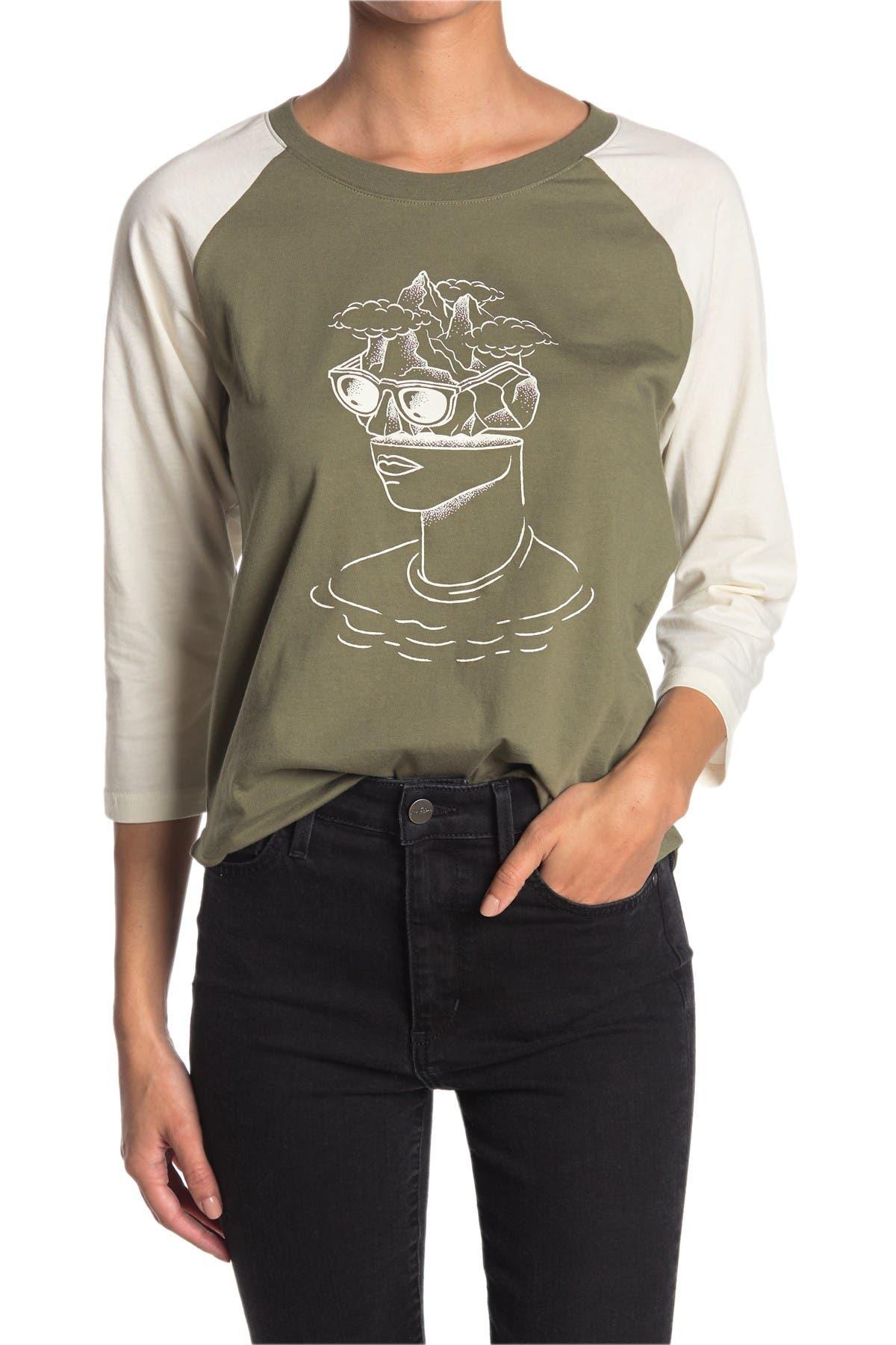 Image of MOUNTAIN HARDWEAR Head in the Clouds 3/4 Raglan Sleeve Organic Cotton T-Shirt