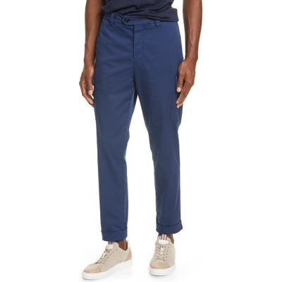Brunello Cucinelli Stretch Cotton Cargo Pants, Blue