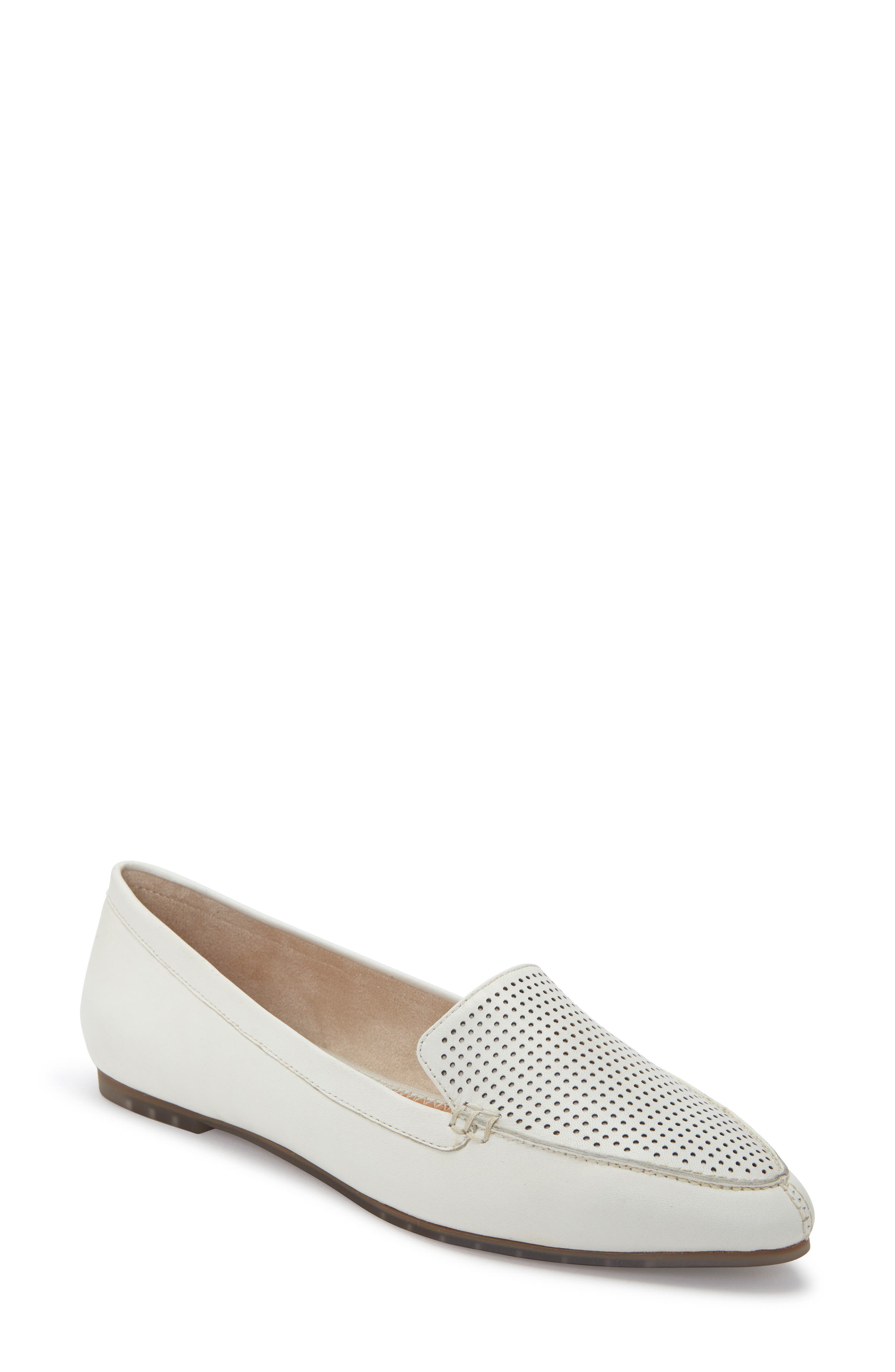 Me Too Alegra Perforated Pointy Toe Loafer, White
