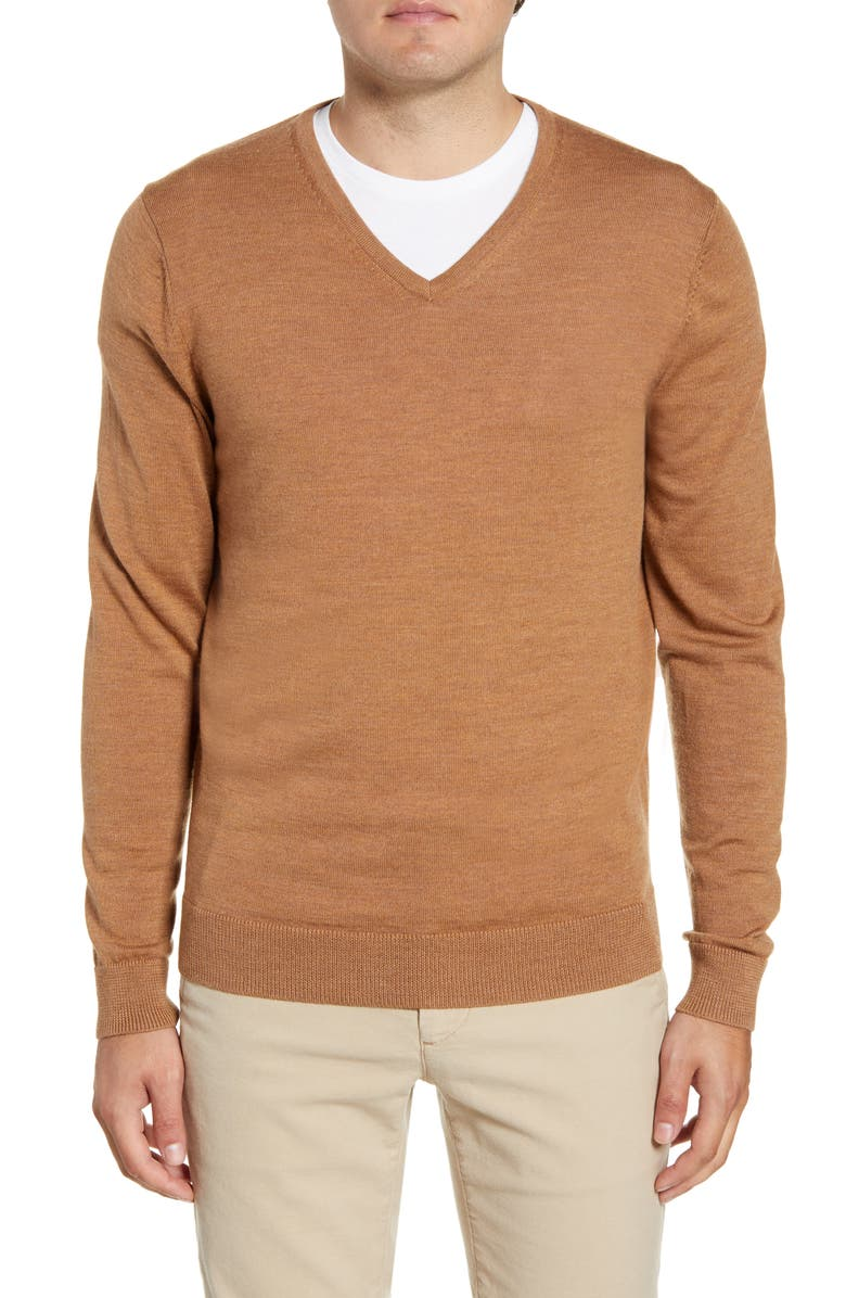 NORDSTROM MEN'S SHOP V-Neck Merino Wool Sweater, Main, color, BROWN SADDLE HEATHER