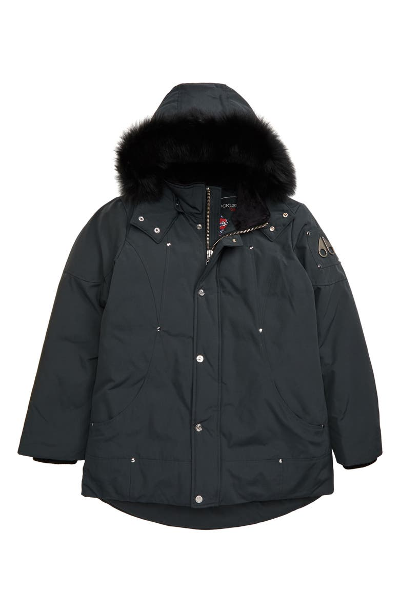 MOOSE KNUCKLES Hooded Parka with Genuine Fox Fur Trim, Main, color, GRANITE/ BLACK FUR