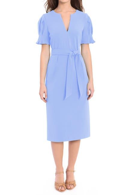 Image of Donna Morgan Puff Sleeve Waist Tie Midi Dress