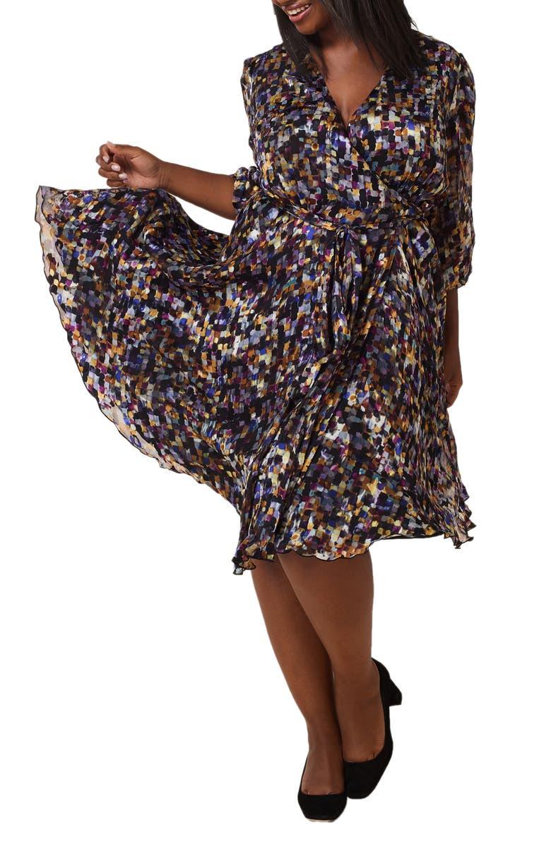 MARÉE POUR TOI Print Wrap Dress, Main, color, PURPLE