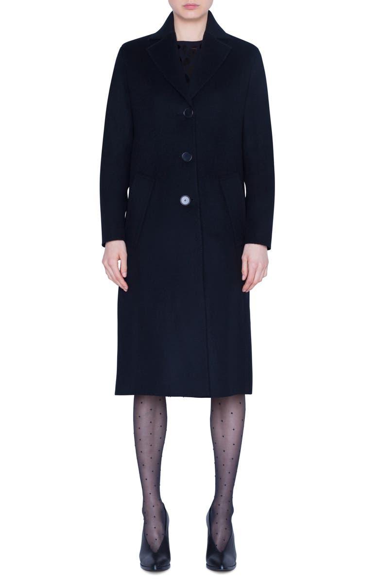 AKRIS PUNTO Ruffle Back Raw Cut Wool Blend Coat, Main, color, BLACK