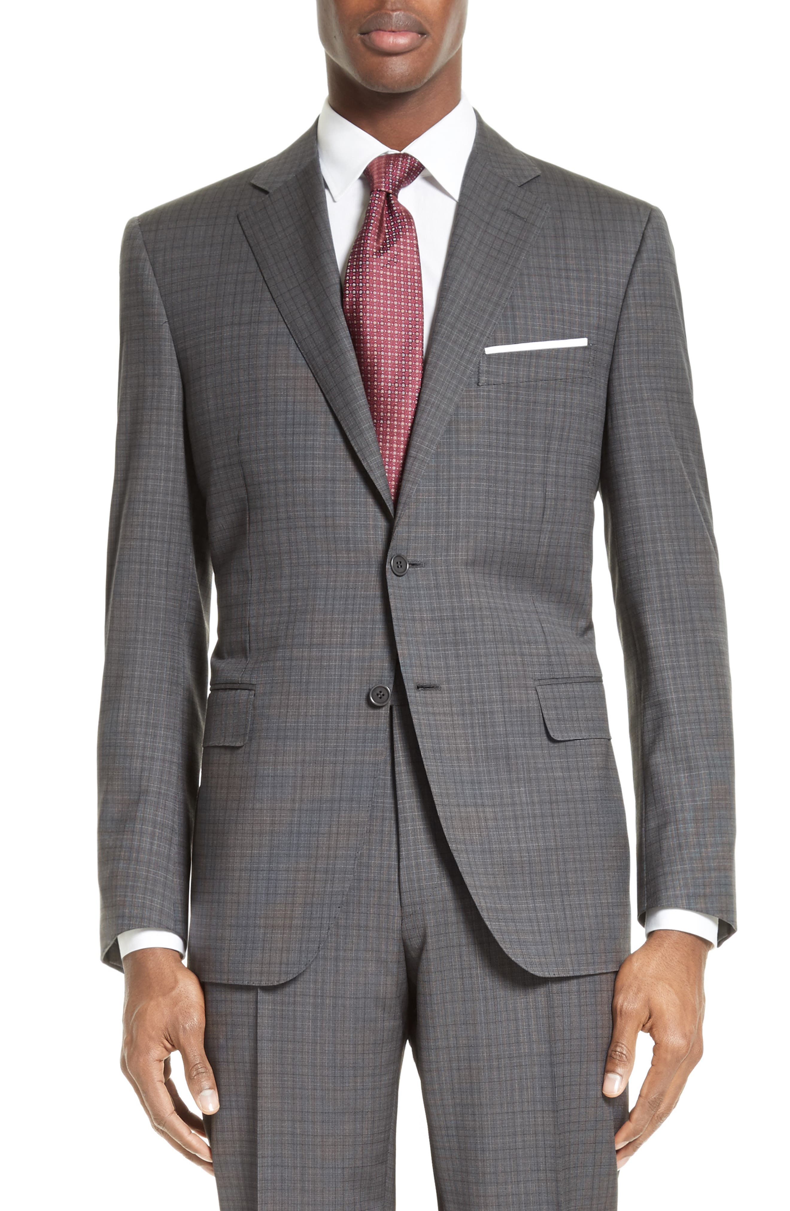 ,                             Classic Fit Check Wool Suit,                             Alternate thumbnail 5, color,                             GREY