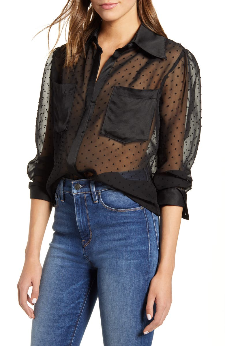 7 FOR ALL MANKIND<SUP>®</SUP> Sheer Swiss Dot Shirt, Main, color, JET BLACK
