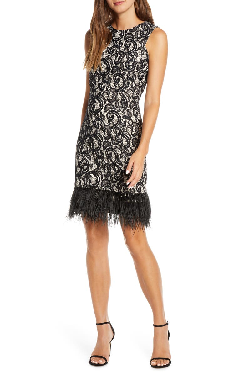 DONNA RICCO Allover Lace Feather Hem Sleeveless Cocktail Dress, Main, color, BLACK/ NUDE