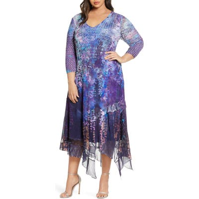 Plus Size Komarov Asymmetrical Hem Midi Dress, Purple