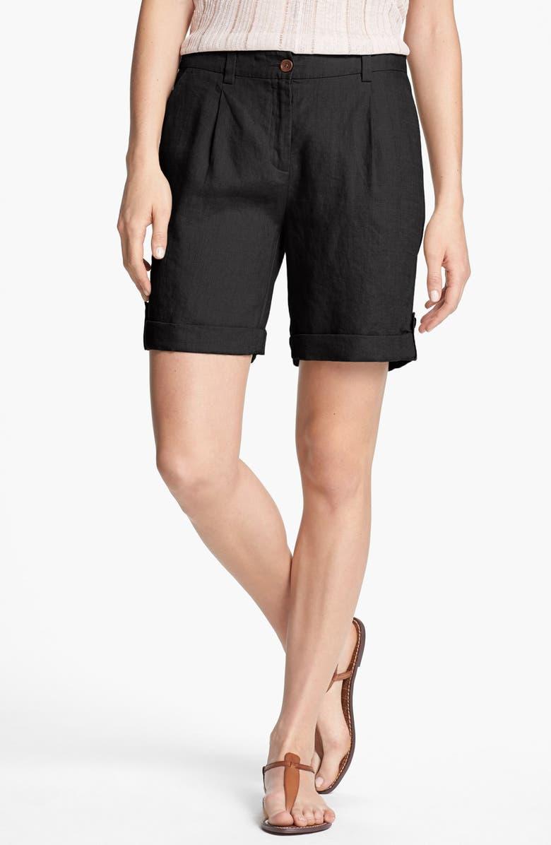 EILEEN FISHER Cuff Linen Shorts, Main, color, 001