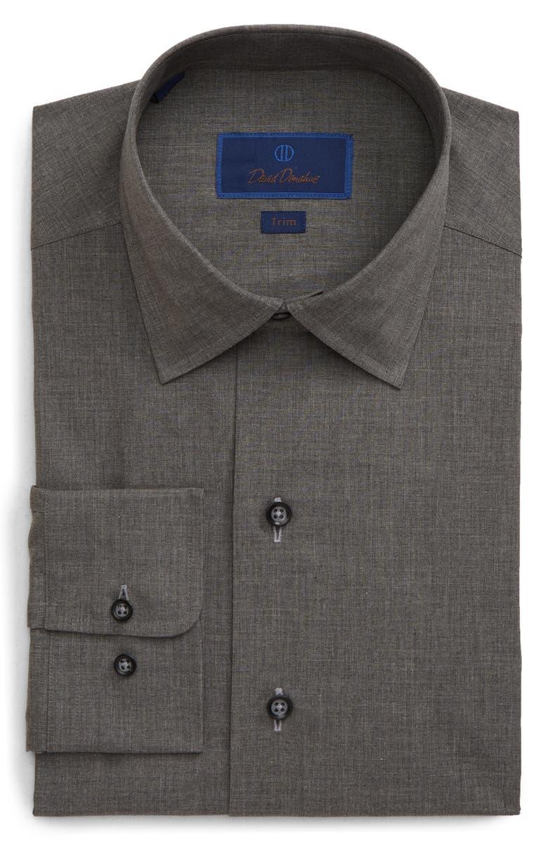 DAVID DONAHUE Trim Fit Solid Dress Shirt, Main, color, CHARCOAL