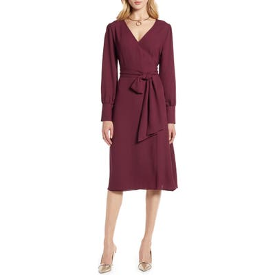 Halogen Long Sleeve Wrap Midi Dress, Burgundy