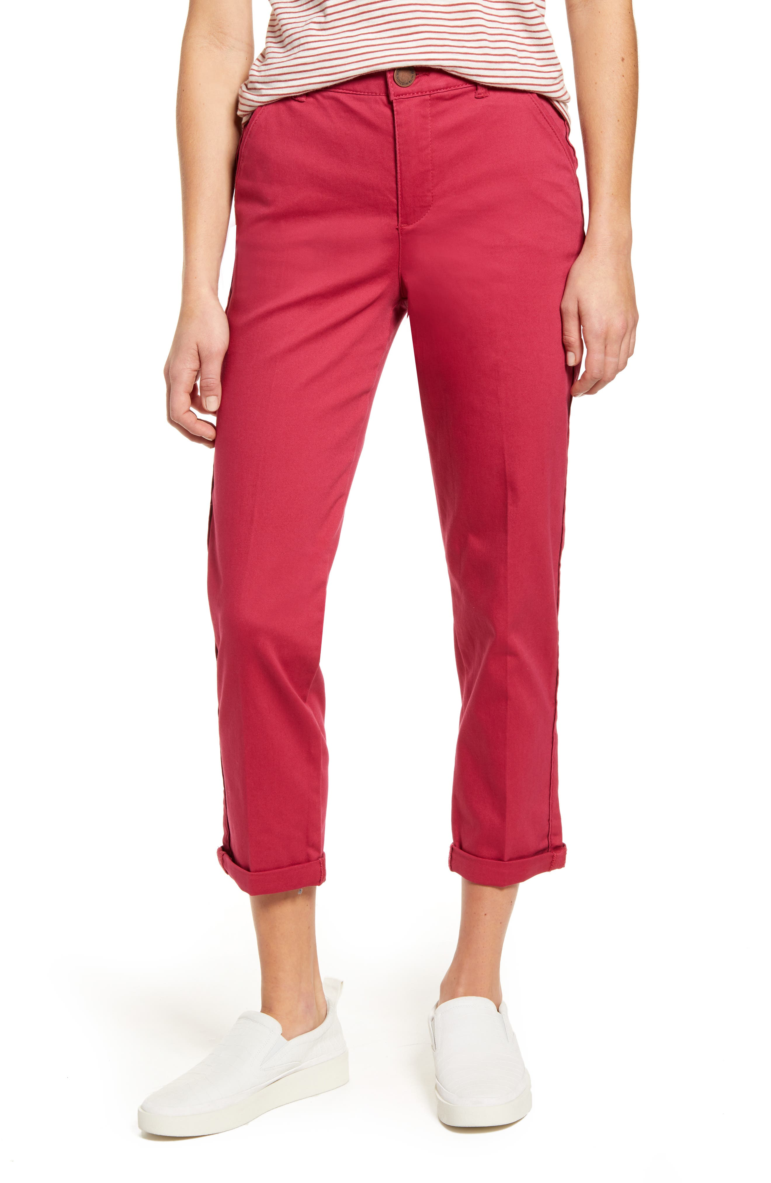 Take the next casual day in kicked-back comfort wearing these stretch cotton pants specially designed to mold, shape and hold with ease. Style Name: Wit & Wisdom Ab-Solution High Waist Roll Cuff Stretch Cotton Trousers (Nordstrom Exclusive). Style Number: 5996990. Available in stores.