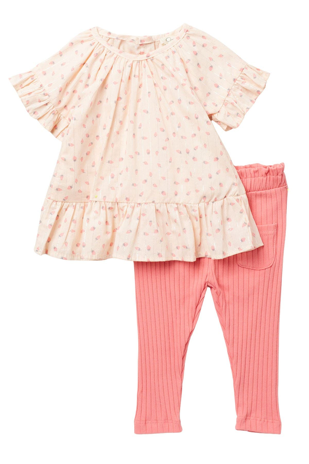 Image of Jessica Simpson Ruffle Raglan & Ribbed Knit Pants Set