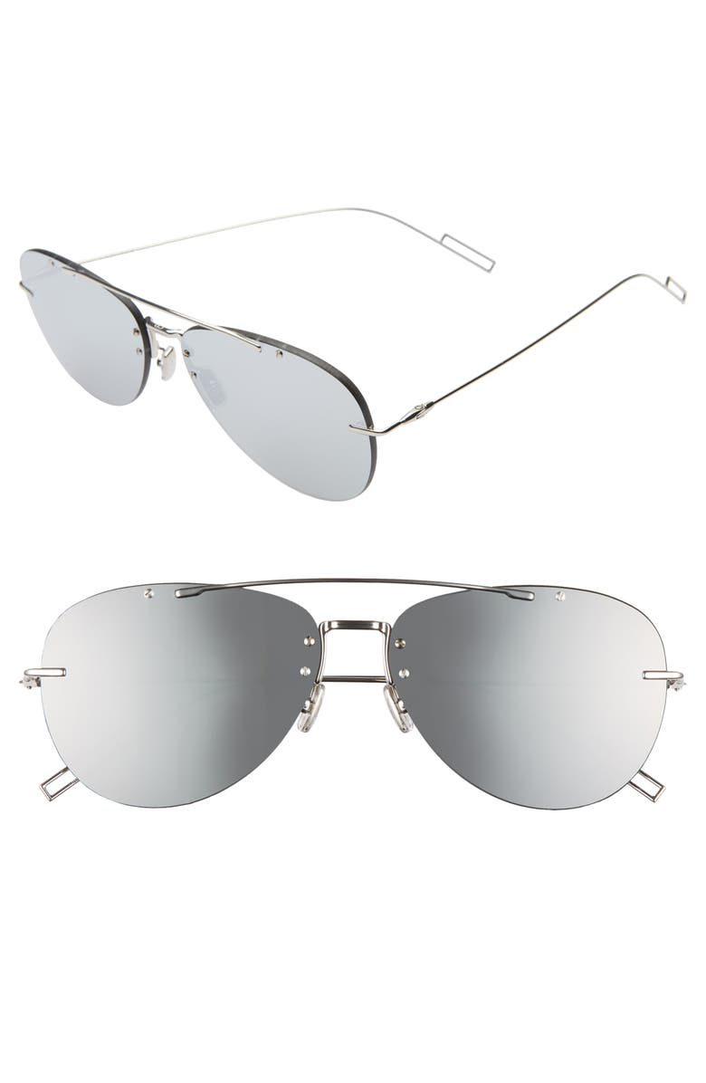 DIOR Chroma 1F 62mm Navigator Sunglasses, Main, color, PALLADIUM/GRAY SILVER