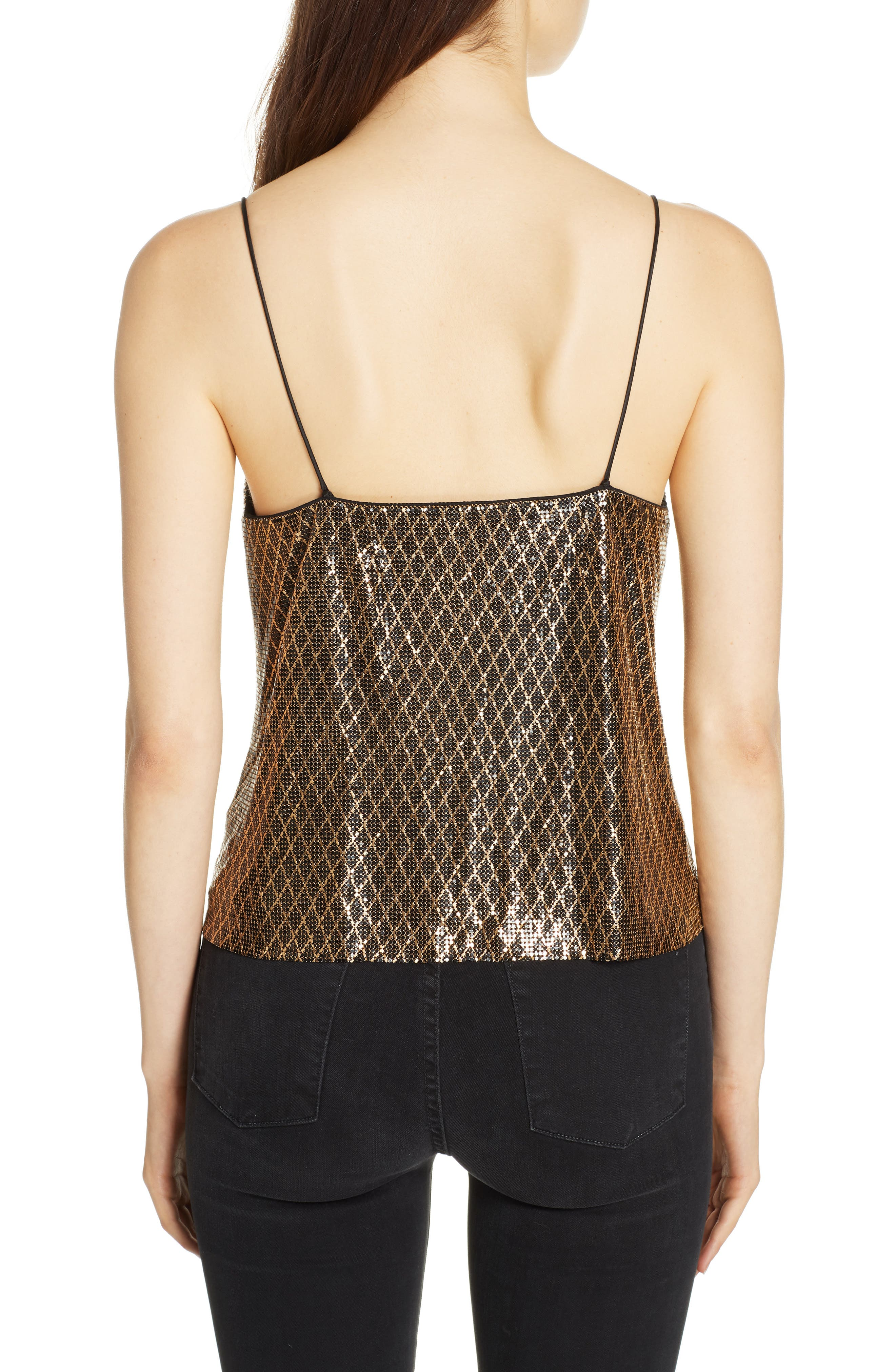 ,                             Harmon Chain Mail Drapey Camisole,                             Alternate thumbnail 2, color,                             BLACK/ GOLD
