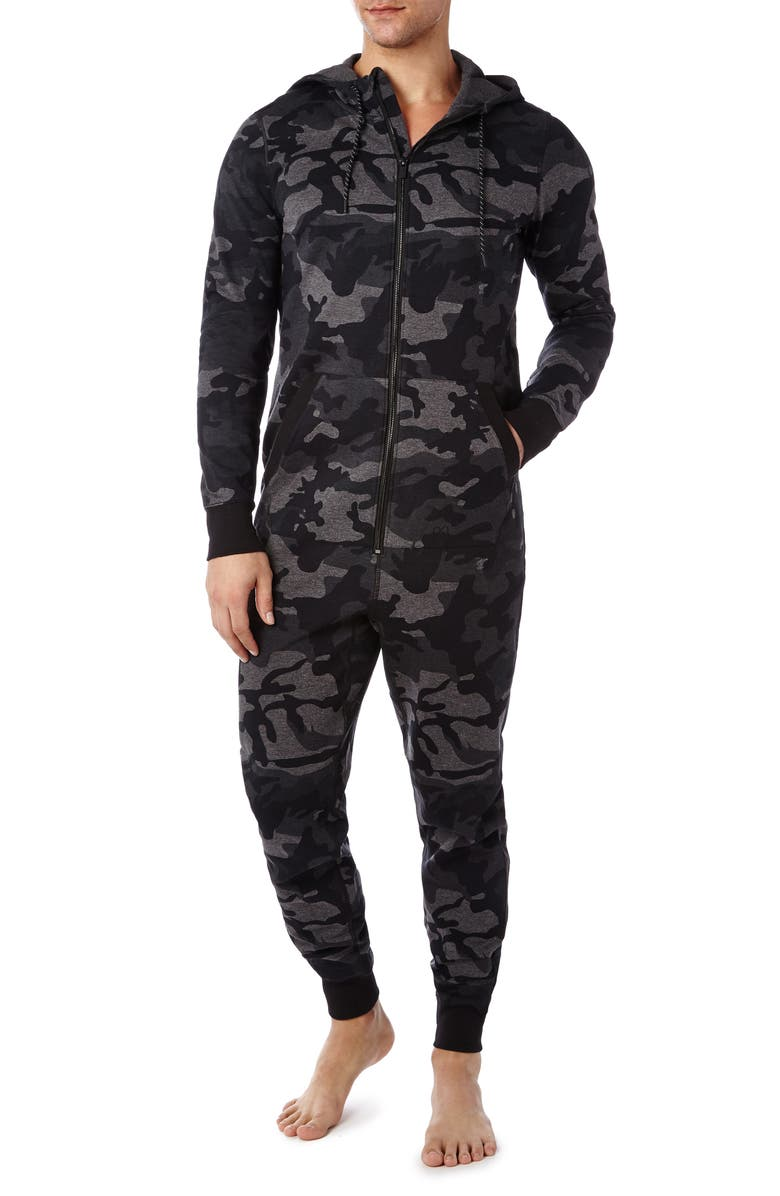 2(X)IST Terry Flight Jumpsuit Pajamas, Main, color, HEATHER CAMO