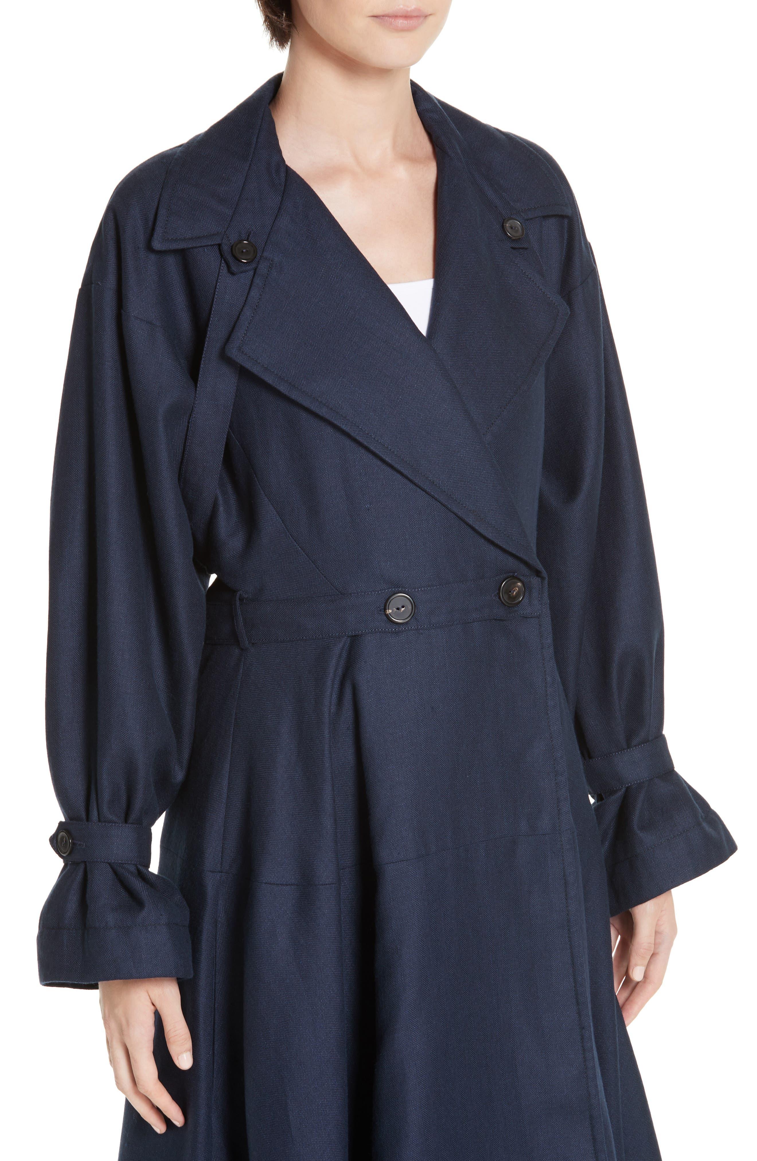 ,                             Carved Wool & Linen Coat,                             Alternate thumbnail 4, color,                             NAVY HERRINGBONE LINEN
