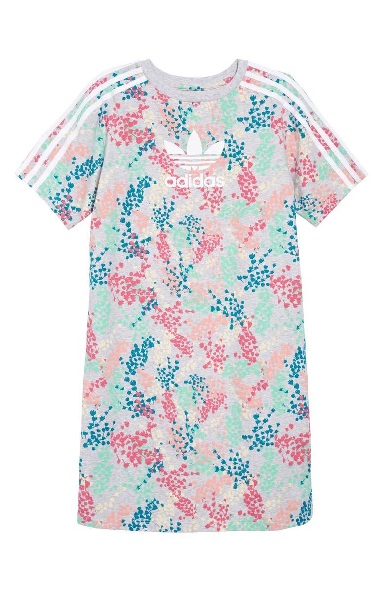 ADIDAS ORIGINALS Floral Print T-Shirt Dress, Main, color, MULTI/ WHITE