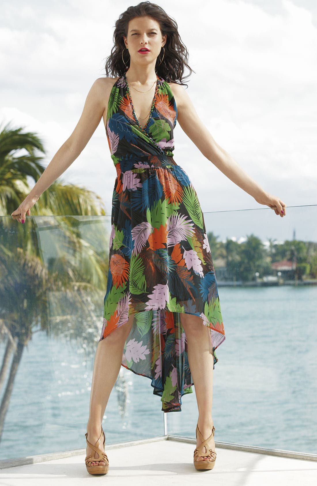 ,                             Print Chiffon Halter Dress,                             Alternate thumbnail 4, color,                             001