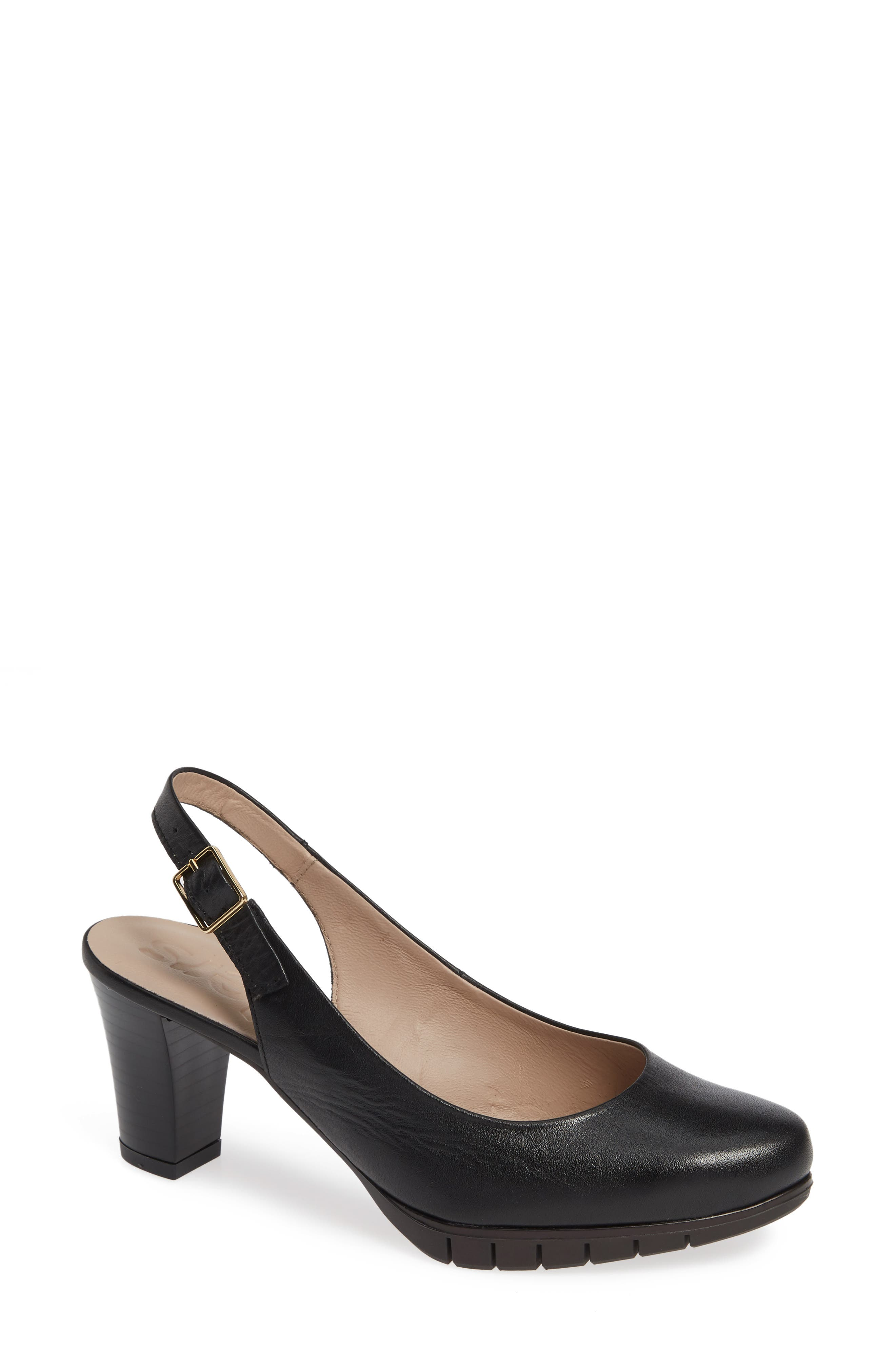 A desk-to-dinner slingback pump makes every step confident and comfortable with a memory-gel footbed and flex-groove sole that provides shock absorption. Style Name: Wonders Slingback Pump (Women). Style Number: 5764539. Available in stores.